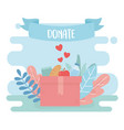 volunteering help charity donate food water in vector image vector image