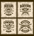 western set of four brown emblems vector image vector image