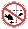 sign time of spawning fishing is prohibited fish vector image