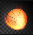 basketball ball in fire realistic burning vector image