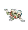 a happy astronaut flies in weightlessness