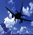 airplane in the blue sky vector image vector image