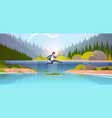 brave businessman jumping over river vector image