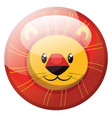 cartoon character of a smiling yellow lion in red vector image vector image