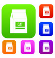 cat food bag set color collection vector image vector image