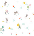 childish pattern with little deer in forest vector image vector image