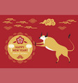 chinese happy new year 2021 year bull vector image vector image
