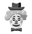 Clown face with hat icon gray monochrome style vector image vector image