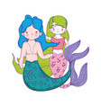 couple mermaids fairytale characters vector image