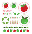 cute apple clipart set hand vector image