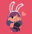 Cute Bunny Girl Winking and Holding a Dog vector image vector image