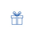 cute gift box line icon concept cute gift box vector image vector image