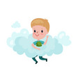 cute little boy playing on a cloud kid fantasizes vector image vector image