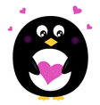Cute Penguin holding pink heart isolated on white vector image vector image