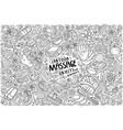 doodle cartoon set massage objects and symbols vector image