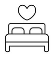 double bed thin line icon lovers bed vector image vector image