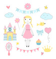hand drawn pictures for kids princess with her vector image