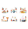 happy family cooking together set vector image vector image