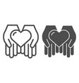 heart in open hands line and glyph icon love in vector image
