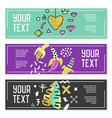 horizontal banners set with gold glitter geometric vector image vector image