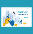 isometric businessmen insure their assets vector image vector image