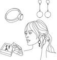 jewelry item tiara necklace beads ring earrings vector image
