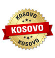 kosovo round golden badge with red ribbon vector image vector image