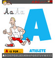 letter a worksheet with cartoon athlete vector image
