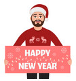 man holds poster happy new year congratulations vector image vector image