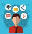 man internet social media communication icons vector image vector image