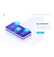 Mobile app development isometric concept