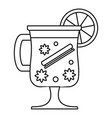 mulled wine drink icon outline style vector image