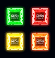 neon light square set shining rectangle frame vector image vector image