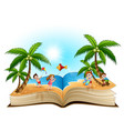 open book with group of happy children playing on vector image vector image