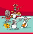 rabbits rock musicians band cartoon vector image vector image