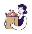 sale food girl holding paper bag vector image