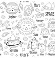seamless pattern black and white solar system vector image vector image