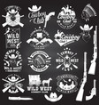 set cowboy club badge on chalkboard vector image vector image