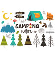 set of isolated camping nature vector image vector image