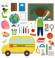 set of isolated school bus and school supplies vector image
