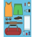 Set of required accessories in gym vector image