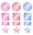 set red blue and pink glossy stickers in the shape vector image vector image