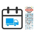 Shipping Day Flat Icon with 2017 Year Bonus vector image