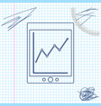 tablet with statistic graph chart line sketch vector image vector image