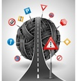 tangle of roads with signs vector image
