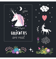 unicorn with flowers fantasy elements vector image vector image