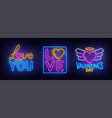 valentines day set neon sign vector image vector image