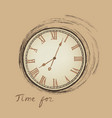 vintage watch dial isolated engraving time for vector image