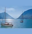 yachts on lake vector image