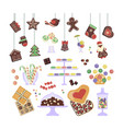 sweets and cakes set vector image